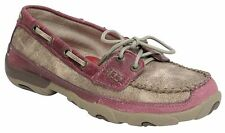 NIB TWISTED X WOMEN'S DUSTY TAN & PINK DRIVING MOCCASINS WDM0008