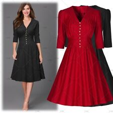 Women Vintage 1950s Cocktail Evening Party Wiggle Pleated Swing Flare Slim Dress