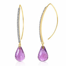 Genuine Amethyst Briolette Gemstones & Diamonds FishHook Earrings 14K Solid Gold