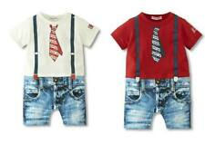 Baby Boy Daily Casual T-Shirt Print Tie+Jeans Suit Bodysuit Clothes Outfit 0 1 2