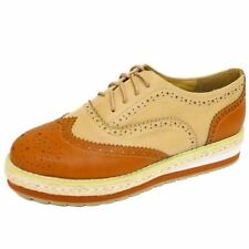 LADIES TAN FLAT BROGUE CRUSHERS LACE-UP PLATFORM BEETLE CREEPERS SHOES SIZES 3-8