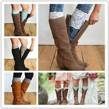 Hot Stretch Lace Boot Cuffs Flower Leg Warmers Lace Trim Toppers Socks Colors