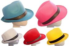 Adults Mens Womens Trilby Hat Fedora Party Sun Cap Blue Pink  Red Ass Colour Hat