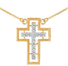 14K Two Tone Gold Double Cross Diamond Necklace