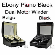 Automatic Watch Winder Display Box Storage Case Dual Motor 4+6 Luxury Black Gift