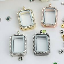 Floating Memory Charm Crystal Rectangle Glass Locket Chain DIY Necklace Pendant