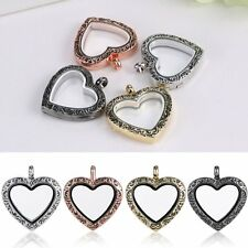 Hot Living Memory Floating Charm Heart Love Glass Locket Chain Necklace Pendant