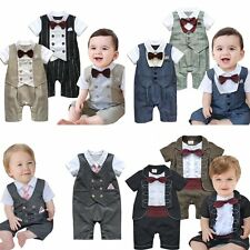 Baby Boy Wedding Tuxedo Formal Dressy Party Suit Bodysuit Outfit Clothes 0-24M