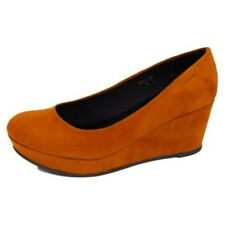 LADIES WOMENS TAN MID HEEL WEDGE PLATFORM COURT WORK SHOES PUMPS SIZE 3-8