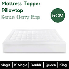 Pillowtop Mattress Topper Luxury Cover Protector Memory Resistant Pad All Size