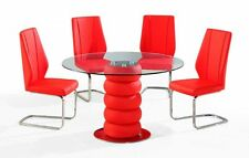 MAJUBA GLASS LEATHER CHROME DINING ROOM TABLE & 4CHAIRS SET FURNITURE-