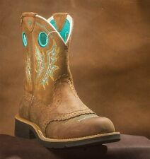 ARIAT Women's Leather Fatbaby Cowgirl Powder Brown Teal Boots 10010219 NIB