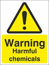 Warning Harmful Chemicals Sign 150x200mm, Rigid Plastic, Self Adhesive Vinyl