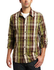 Men's PrAna Buckeye Long Sleeve Snap Down Shirt Port Plaid Sz S NWT M2BUCK310