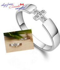 S925 Sterling Silver Cross Unisex CZ Ring /18k GP/Matching Ring Available