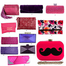 Multi Colors Satin Clutch Bags Glitter F Leather Patent Envelope Diamante Womens