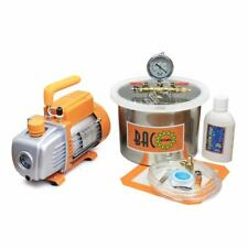 Vacuum Chamber Kit with 3.6 or 5 CFM 1 or 2 Stage Vacuum Pump HVAC with Gauge