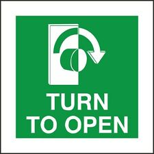 Turn To Open Arrow Right Sign,100x100mm, Rigid Plastic, Self Adhesive Pack Of 3