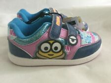 GIRLS OFFICIAL DESPICABLE ME MINION TRAINERS SHOES PINK AND BLUE SIZES 6 - 2