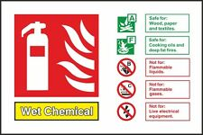 Wet Chemical Fire Identification Sign 150x100mm,Rigid Plastic Or S/A Pack Of 2