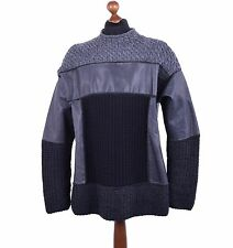 DOLCE & GABBANA Oversize Knitted Knight-Style Leather Sweater Black Grey 04117