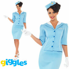 Blue Air Hostess Costume Womens Ladies Cabin Crew Stewardess Fancy Dress Outfit