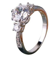 Beautiful 1ct Simulated Diamond Real 18k White Gold Plated Engagement Ring