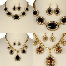 Necklace Earrings Colored Stone Round Teardrop Rhinestone Gold Chain Chic Style
