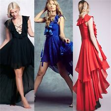 Ruffles Lace Up Women's Cocktail Homecoming Evening Party High Low Dress Unlined