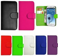 PU LEATHER FLIP WALLET CASE COVER FOR SAMSUNG GALAXY MOBILE PHONE + SCREEN GUARD