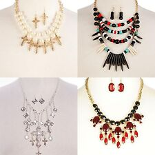 Necklace Earrings Cross Rhinestone Tribal Faux Pearl Crystal Beads Multi Layer