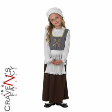 Girls Tudor Costume Book Week Child Fancy Dress Kids Poor Victorian Maid Outfit