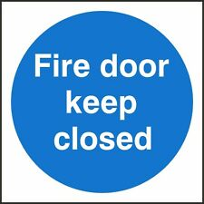 Fire Door Keep Closed Sign, 100x100mm, Rigid Plastic OR Self Adhesive, Pack Of 3