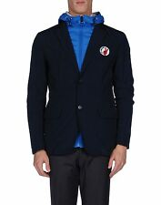 Love Moschino Men's Blue Peace Sign 2 Button Blazer Hood NWT US 40 Sz L IT 50
