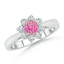 Natural Pink Sapphire Diamond Halo Engagement Ring 14k Gold Size 6 0.88 ct Round