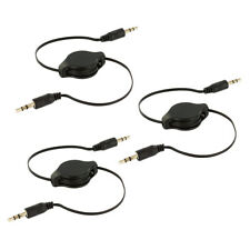 3X Black 3.5mm Retractable Audio AUX Auxiliary Cable Cord for Car iPod
