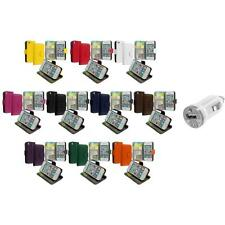 Wallet Leather Case Cover Pouch Credit Card Slots+USB Charger for iPhone 4 4S 4G
