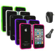 TPU Bumper Rubber Transparent Jelly Case Cover+2X Chargers for iPhone 4 4S 4G