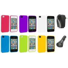 TPU Jelly Gloss Solid Skin Case Cover Accessory+2X Chargers for iPhone 4 4G 4S