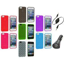 Color Circles TPU Rubber Jelly Skin Case Cover+Aux+Charger for iPhone 5 5S 5th
