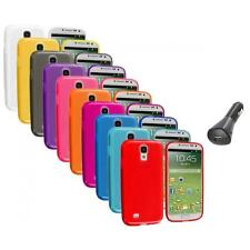 TPU Plain Rubber Gel Case Cover+Car Charger for Samsung Galaxy S4 SIV i9500