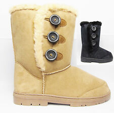 Womens Casual Snow Winter Faux Suede Mid-Calf Black Button Chesnut Boots UK 3-8