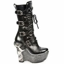 NEWROCK PZ003-S4 Black Gothic Ladies Leather Lace Up Wedge Heel Boots