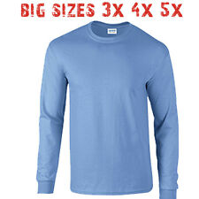 Big 3X 4X 5X Men's Long Sleeve T Shirt Plain Unisex 3XL 4XL 5XL Carolina Blue