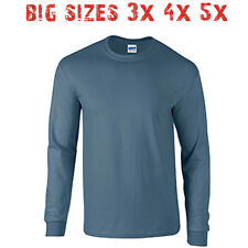 Big 3X 4X 5X Men's Long Sleeve T Shirt Plain Unisex 3XL 4XL 5XL Indigo Blue