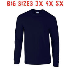 Big 3X 4X 5X Men's Long Sleeve T Shirt Plain Unisex 3XL 4XL 5XL Navy