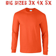 Big 3X 4X 5X Men's Long Sleeve T Shirt Plain Unisex 3XL 4XL 5XL Orange