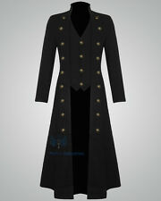 Mens Steampunk Military Trench Coat Long Jacket Black Gothic VTG MohanIndustries