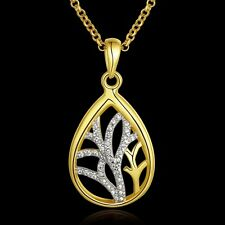 New Design Fashion Women 18K Gold Plated Chain Crystal Teardrop Necklace Pendant
