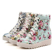 Womens Floral Hidden Low Wedge Heel Sneaker Ankle Canvas Boots Shoes High Top